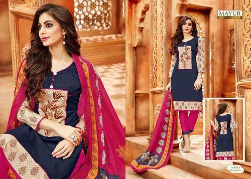 Embroidered Regular Wear Naira Cotton Dress Material, GSM: 250-300