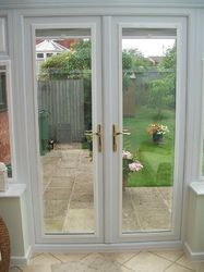 Toughened Glass Designer UPVC French Door, 6 MM