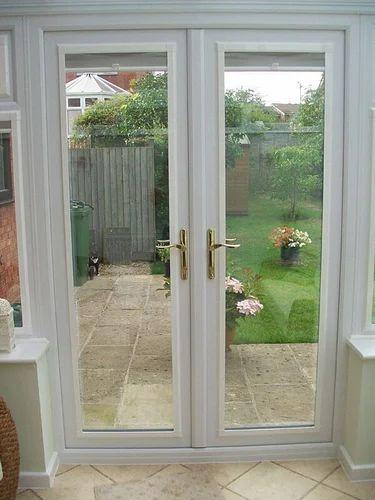 Toughened Glass Designer UPVC French Door, 6 MM