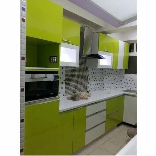 Modern Green And White Modular Kitchen Cabinet