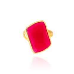 Hot Pink Chalcedony Nice Sterling SIlver 925 Micron Gold Plated Gemstone Ring