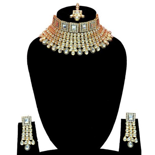 Brass Indian Bollywood Bridal Heavy Necklace Pendant Earrings