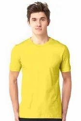Casual Wear Half Sleeves 100% Cotton Half Sleeve T Shirt Yellow