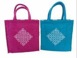 Multicolor Plain Rubis bags Jute rangoli print bag, Size: 10 X 10
