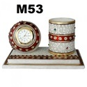 Marble Clock With Pen Stand
