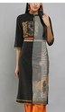 Black And Grey Colorblocked Printed Kurta