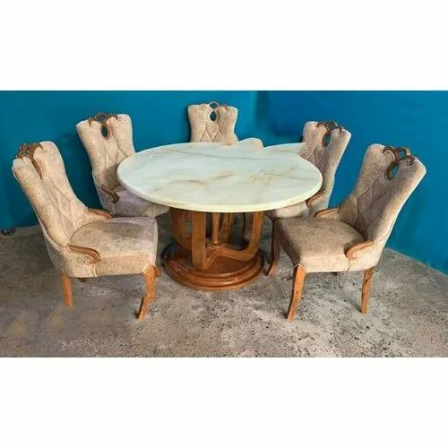 5 Seater Wooden Round Dining Room Table, Round Dining Table Set For 5 Chairs