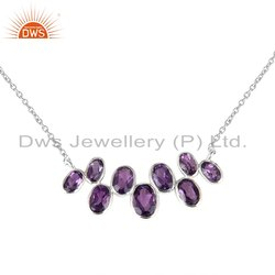 Natural Amethyst Stone Sterling Silver Necklace