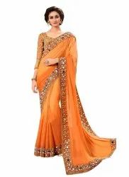 Mirror Work Bollywood Ladies Georgette Saree, 6.3 m (With Blouse Piece)