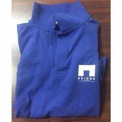 Cotton Mens Blue Collar T Shirt