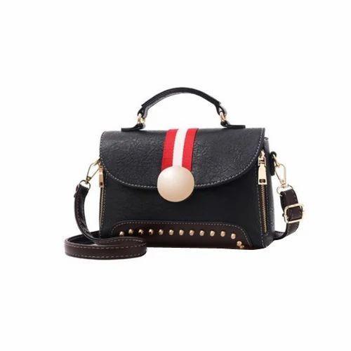 42d0a0afae038 Vismiintrend Black Rivet Black PU Leather Ladies Sling Bag, Rs 1399 ...
