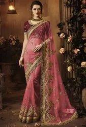 Mauve Pink Designer Net Saree