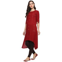 Yash Gallery Women's Cotton Slub High-Low Kurta