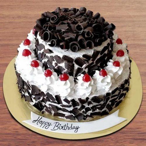 Groovy Chocolate Round 2 Tier Designer Black Forest Cake For Funny Birthday Cards Online Hendilapandamsfinfo