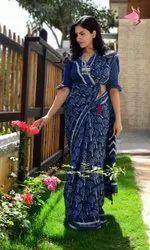 Indigo printed cotton saree with blouse