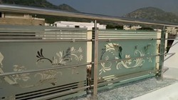 Silver 304 Stainless Steel Glass Railings
