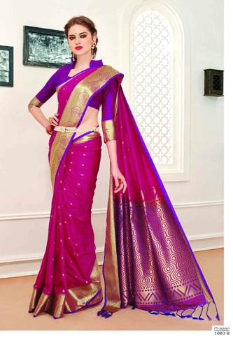 Party Wear And Festive Violet Color Art Pattu Silk Saree