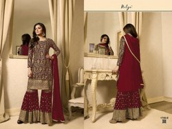 Latest Straight Embroidered Sharara Suit