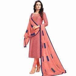Rajnandini Peach Chanderi Silk Printed Semi-Stitched Dress Material With Printed Dupatta
