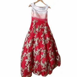 Stitch Silk Embroidered Party Wear Long Gown, Size: S-XXL