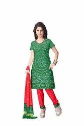 Green And Red Color Fancy Design Gaji Silk Bandhani Suit