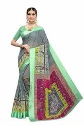 New Fancy Linen Saree With Satin Patta