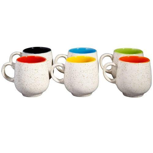Tea Cup Set Ceramic Stoneware In Multicolor Matte Of 6 Handmade By