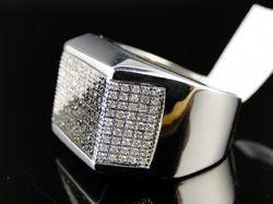 5fb43e66d39ac Men's Finish Black and White Diamond Pinky Fashion Band Ring 14k White Gold