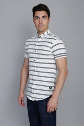 Off White Striped Pique Shirt
