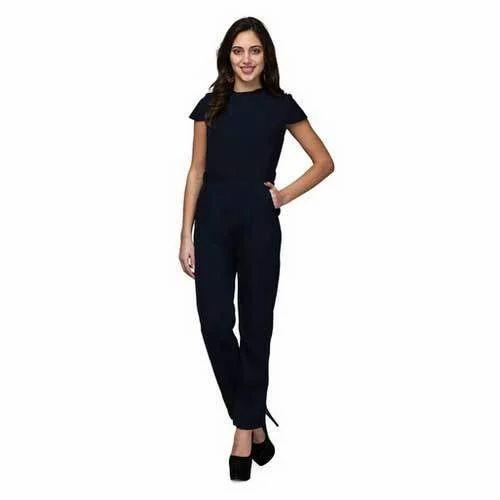 396a4cb29cd8 Polyester Women Navy Blue Jumpsuit