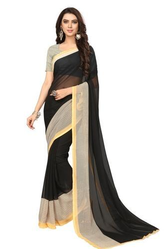 adf285bc39 Georgette Black Saree With Blouse Piece, Rs 250 /piece, RN Export ...