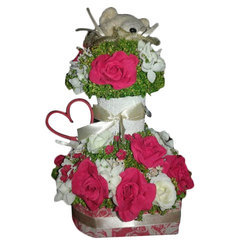 Artificial Roses Bouquet with Teddy