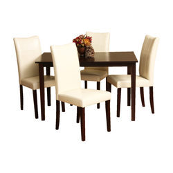 Madesos Radelle Dining Table In Teak Wood With Espresso-four Seater Dining Set