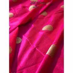 Printed Dark Pink Pure Banarasi Silk Fabric Booti, Packaging Type: Roll