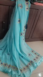 Hand Work Party Wear Nazmin Nylon handwork saree, Size: Full, 6 m (with blouse piece)