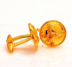 925 Silver Barasingha Cufflinks In Golden Plating