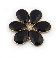 Black Onyx Pear Shape Gold Plated Bezel Checker Cut Gemstone Connectors