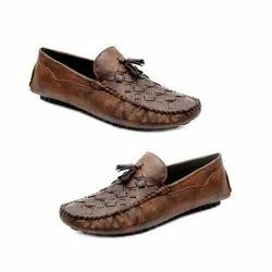 Party Wear Mens Brown Leather Loafer Shoes, Packaging Type: Box