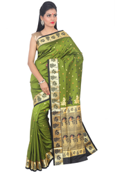 Baluchari Handloom Silk Saree ( MS1631, Green )