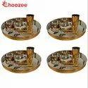 Choozee - Copper Thali Set of 4 (28 Pcs) of Thali, Bowl, Spoon & Glass