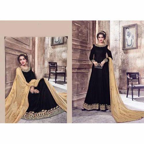 d7ee54279 Wedding Wear Black And Light Brown Designer Anarkali Suit