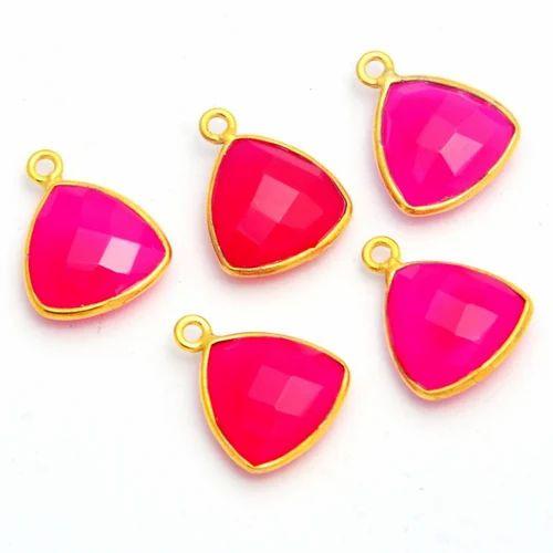 Hot Pink Chalcedony Trillion Bezel Pendant