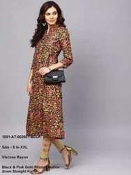 Printed Button Down Straight Kurta