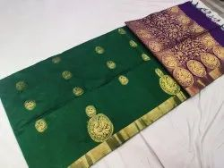 Party Wear Green Beautiful Kanjivaram Cotton Silk Saree with Contrast Blouse Piece