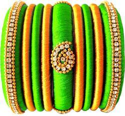 Green And Golden Silk Thread  Bangle Set