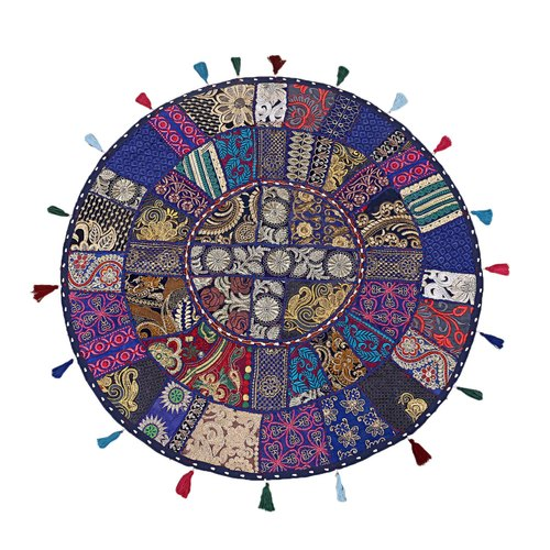 "32/""  Blue Round Floor Pillow Bohemian Patchwork floor cushion pouf Vintage India"