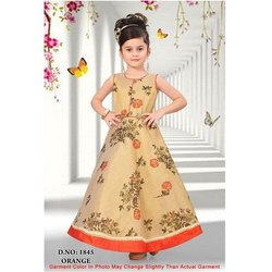 Party Wear Printed Kids Designer Gown, Size: L