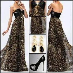 Printed Silk Ledies Dress, Dry clean