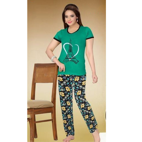 Cotton Green And Black Printed Green Night Suit b7db6ce8b