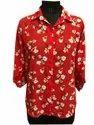 Poyester Red Ladies Printed Shirt, Semi-formal
